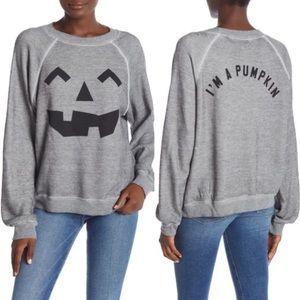 Wildfox sommers sweatshirt Halloween pumpkin grey